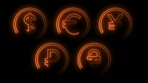 Dynamic glow effects of contours of currencies on a black background. Neon design elements. Futuristic glowing background. Can be used to create a variety of presentations, news, online media, social media and vibrant backgrounds. Looped