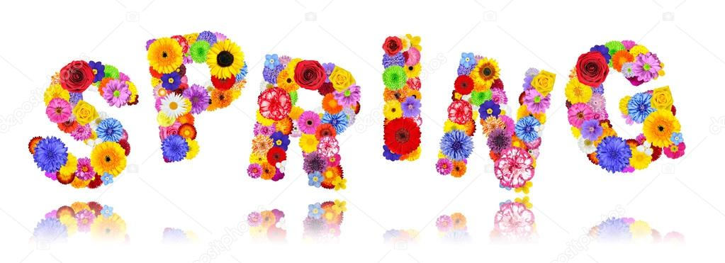 Word spring ukrandiffusion word spring made of colorful flowers isolated on white stock photo mightylinksfo