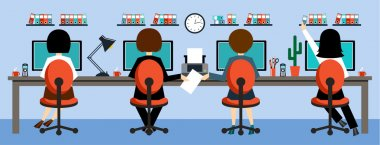 Office life in the style flat design