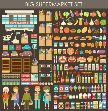 Image consisting of a set of products, people, and building a supermarket stock vector