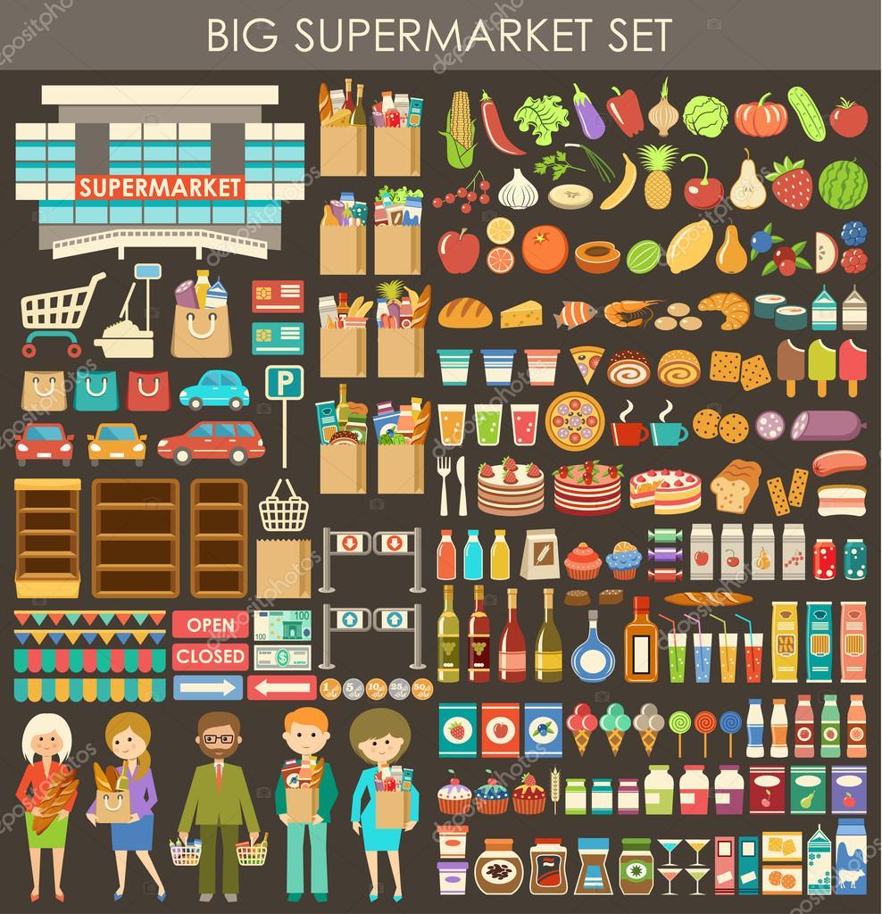 Big supermarket set. vector