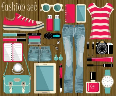 Fashion set in a style flat design.