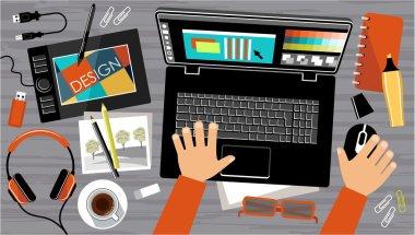 Flat design of creative office workspace