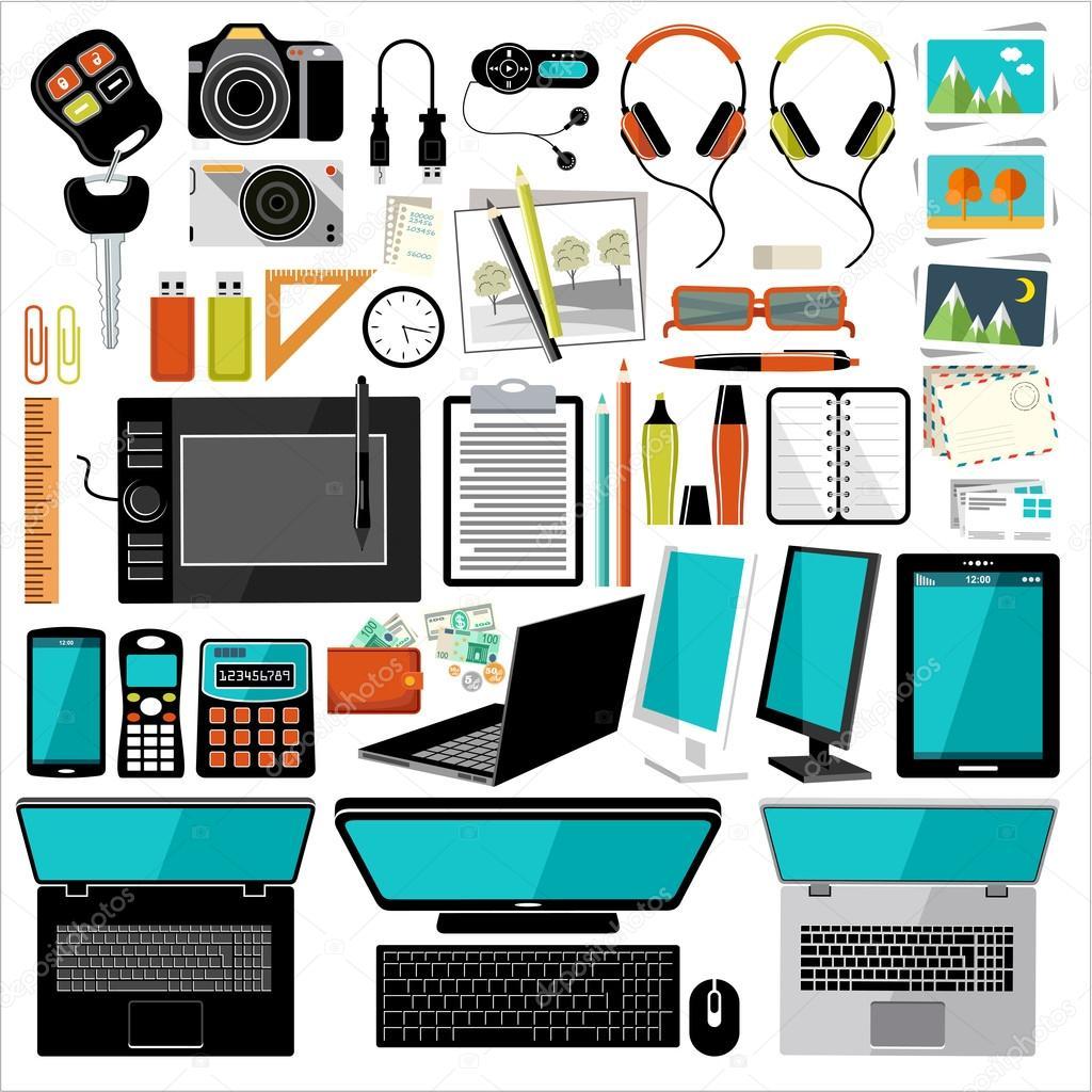 Art culos de oficina y accesorios vector de archivo for Accesorios de oficina