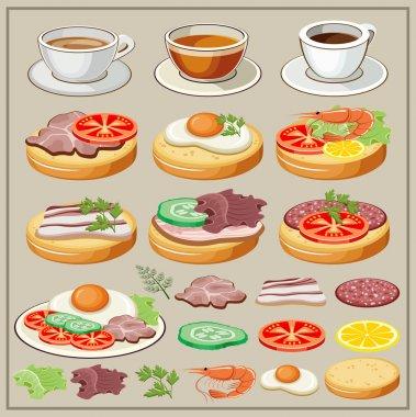 Set of breakfasts - fried eggs, sandwiches, tea, coffee.