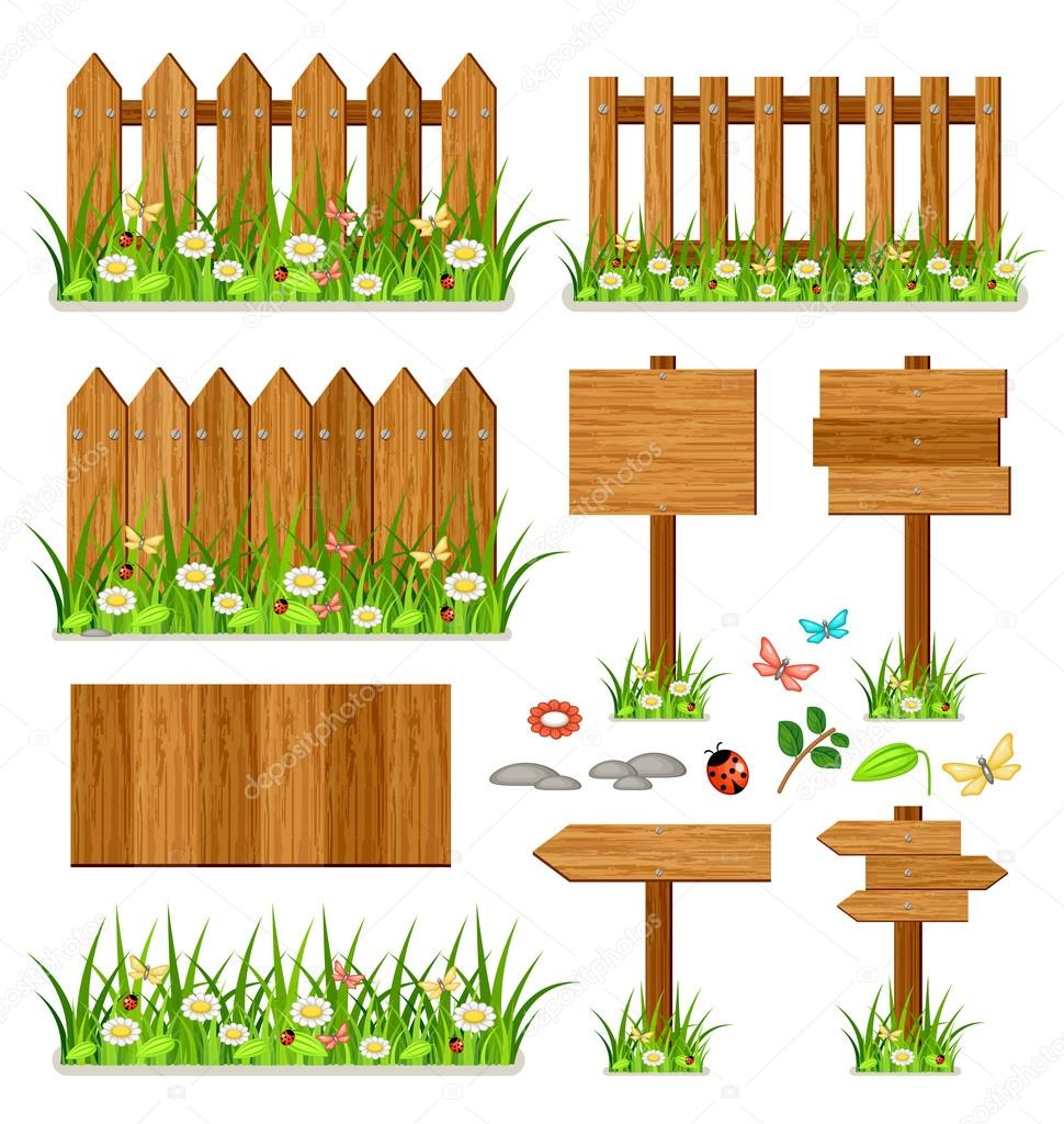 Wooden fence set with grass and flowers stock vector for Barriere jardin bois
