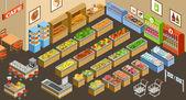Fényképek Vektor izometrikus szupermarket