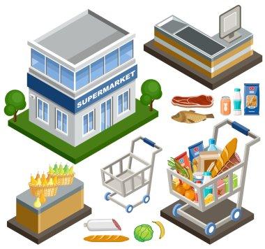 Vector illustration Isometric supermarket