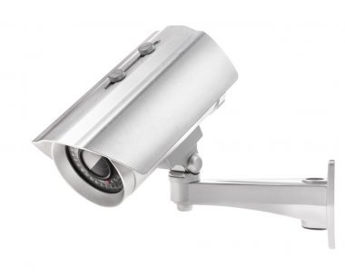 Surveillance camera isolated on white (with clipping paths)