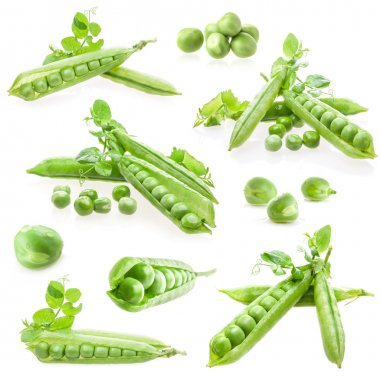 Pod of green peas with leaves on white background