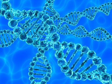 Blue DNA (deoxyribonucleic acid) with waves on background