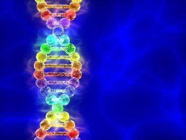 Rainbow DNA (deoxyribonucleic acid) with blue background