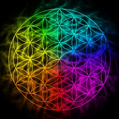 Rainbow flower of life with aura