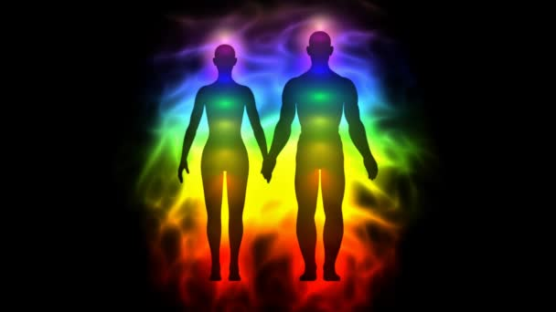 Aura and chakras - silhouette of woman and man