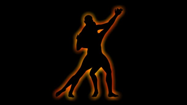 Silhouette eines tanzenden Paares, das sich in einer Schleife dreht