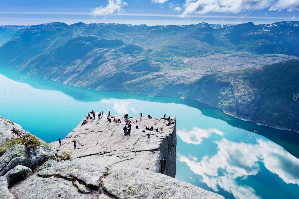 Cliff Preikestolen at fjord Lysefjord