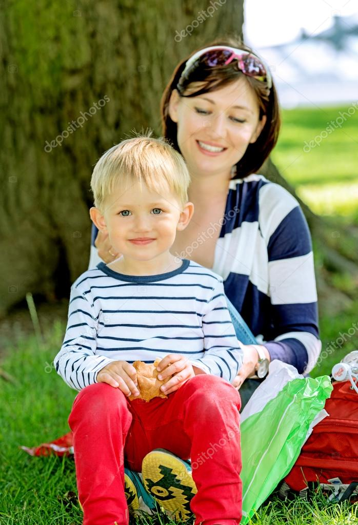 mother and son at park