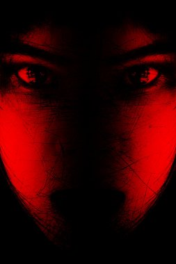 Red is scary,Portrait of scary girl staring at cameras,Background for halloween concept and movie poster project stock vector