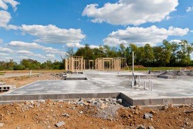 New house construction on slab foundation
