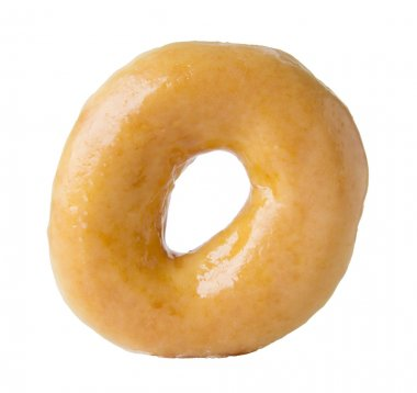 Glazed donut isolated on white with clipping path
