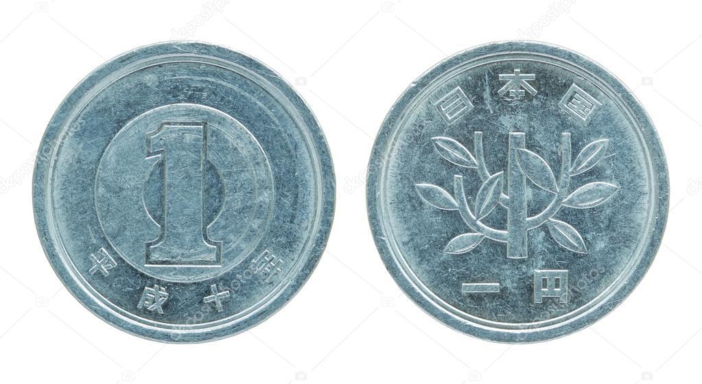 1 Japanische Yen Münze Isoliert Auf Weiss Mit Beschneidungspfad