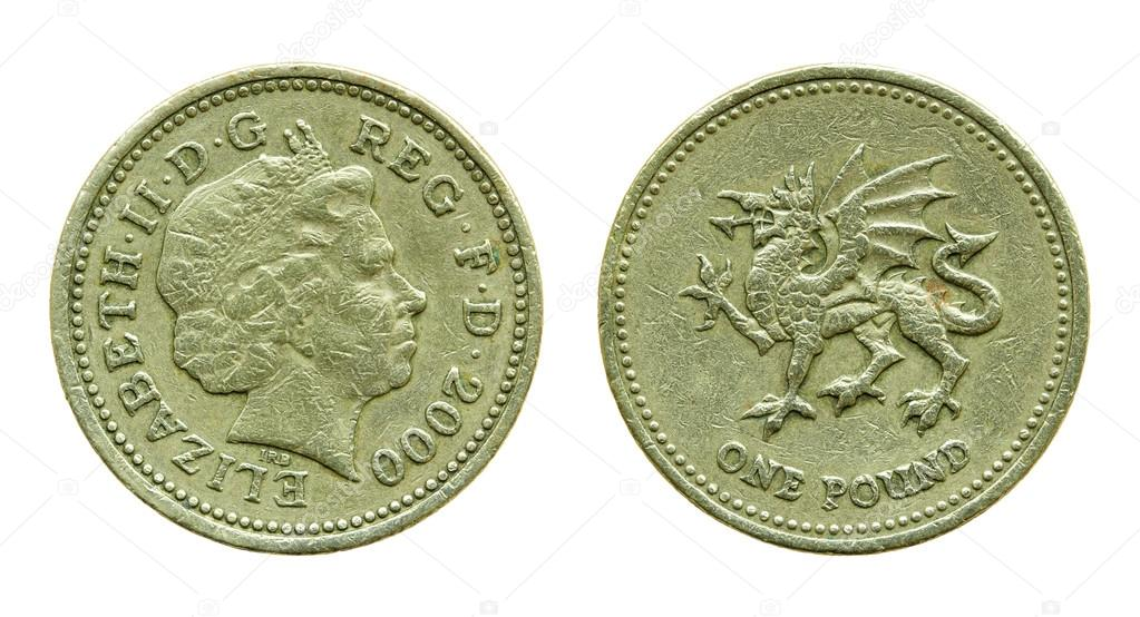 British One Pound Coin Isolated On White With Clipping Path Stock