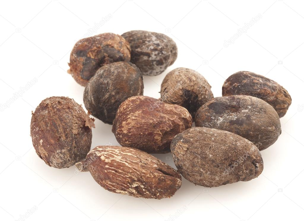 shea nuts on white background, karite seeds