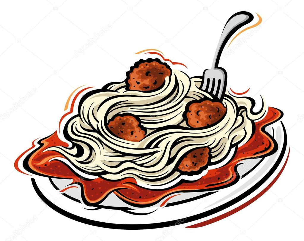 Illustration of Spaghetti and meatballs — Stock Vector ...