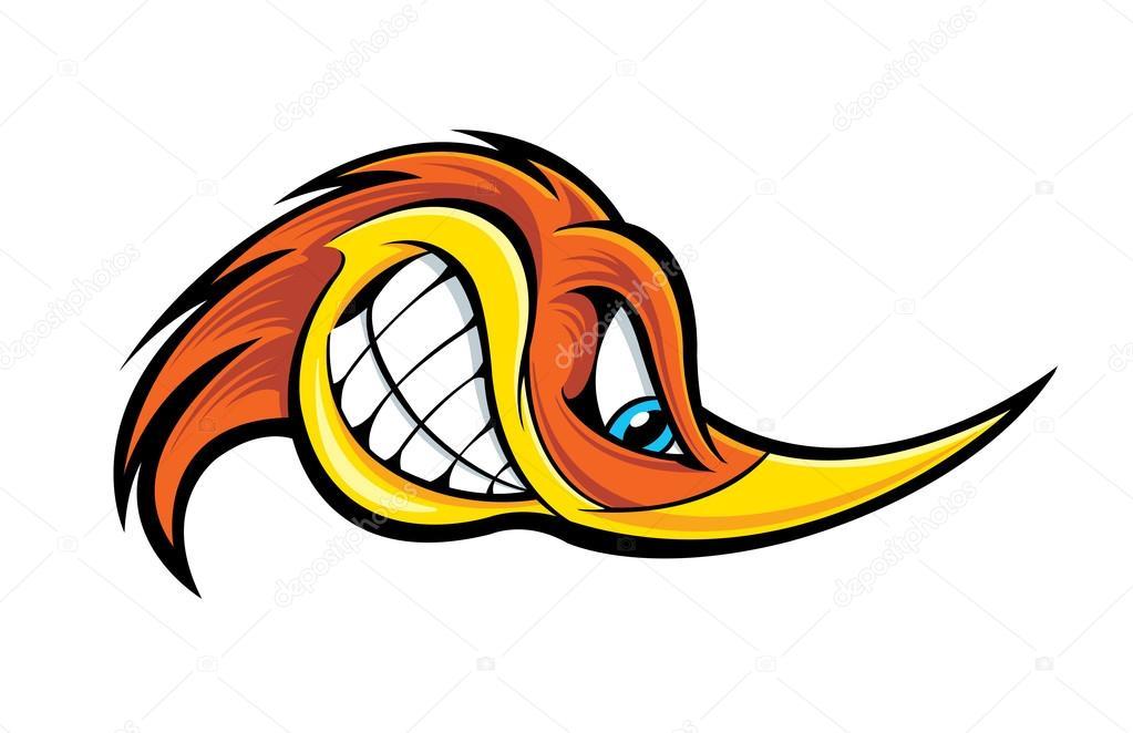 Desenho animado pica pau de cabeça — vetores stock