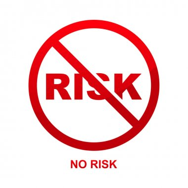 No risk sign isolated on white background vector illustration. icon