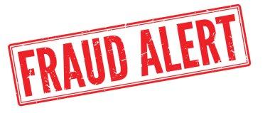 Fraud Alert red rubber stamp on white