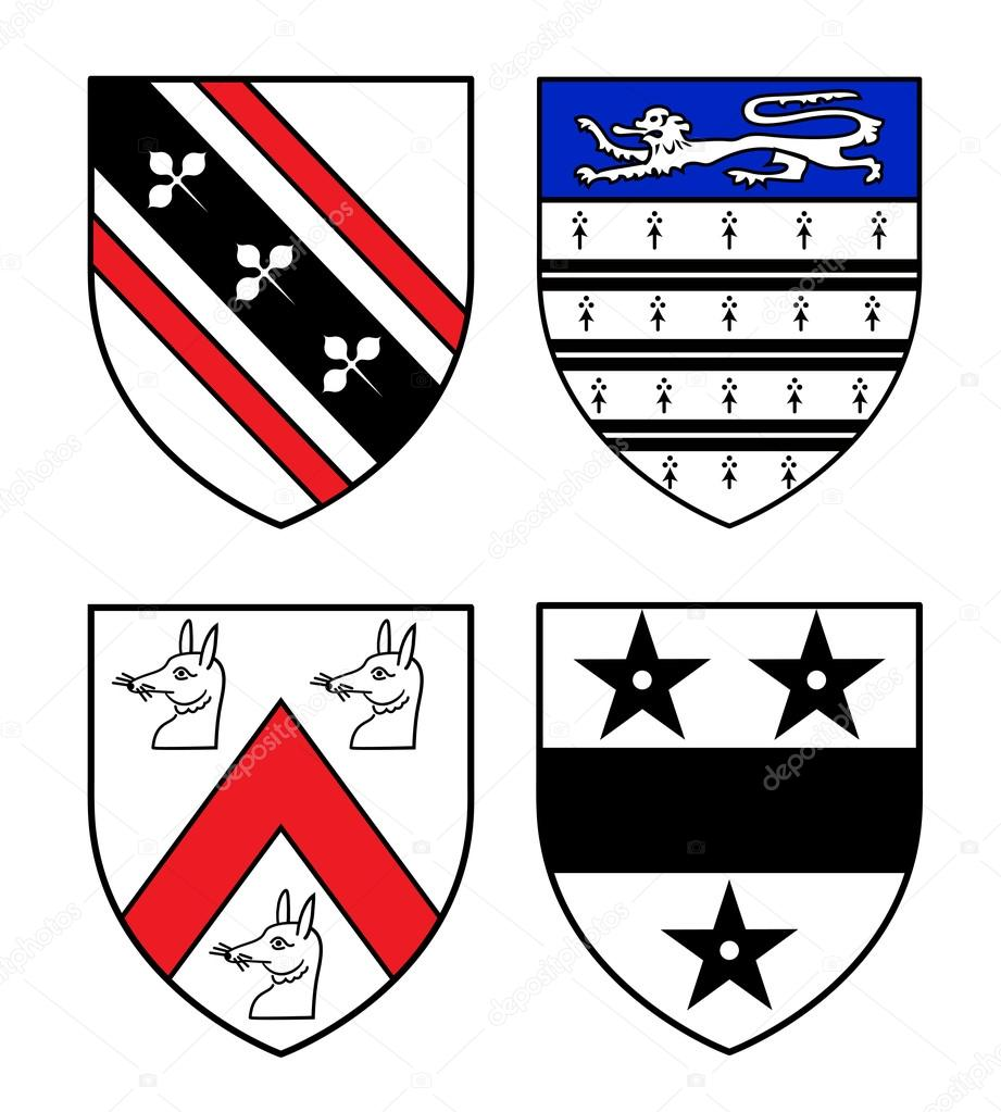 Authentic Medieval Heraldry Shields Stock Vector Lkeskinen0
