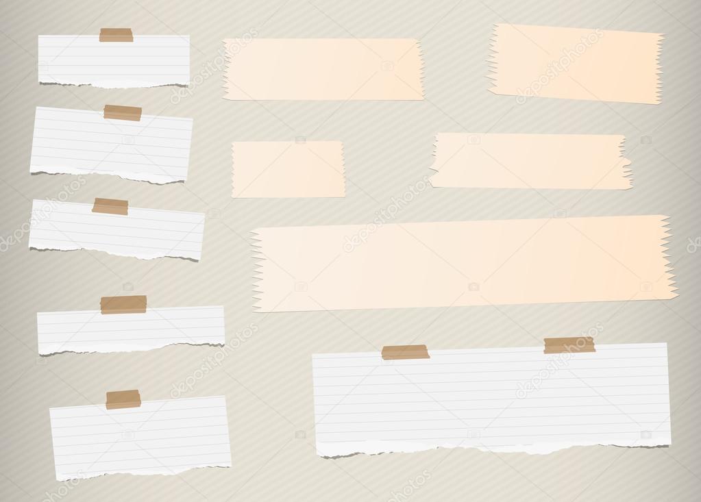 Stücke Von Zerrissenen Weiß, Gefüttert Leer Notizpapier, Klebrig,  Selbstklebende Bänder An Muster Mit Diagonalen Streifen Wand Stecken Braun  U2014 Vektor Von ...