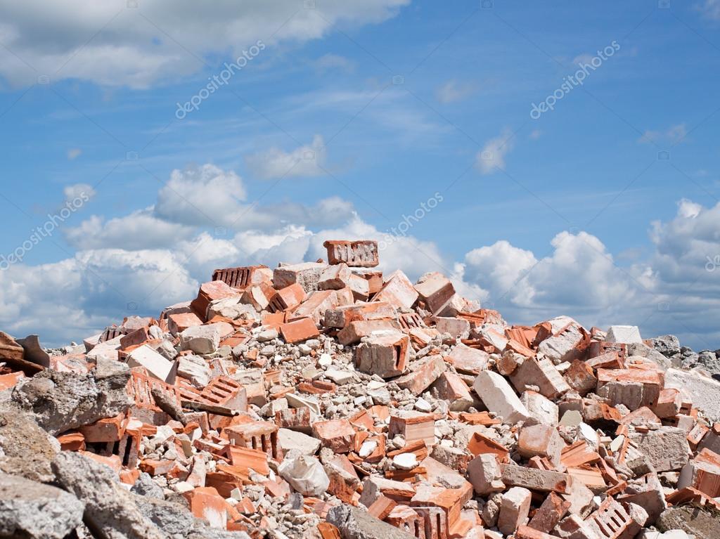 Concrete and brick rubble derbis on construction site