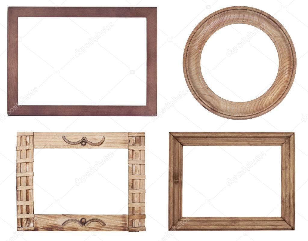 Marcos de madera antiguos sobre fondo de madera — Fotos de Stock ...