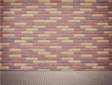 Light brown brick wall texture with sidewalk.