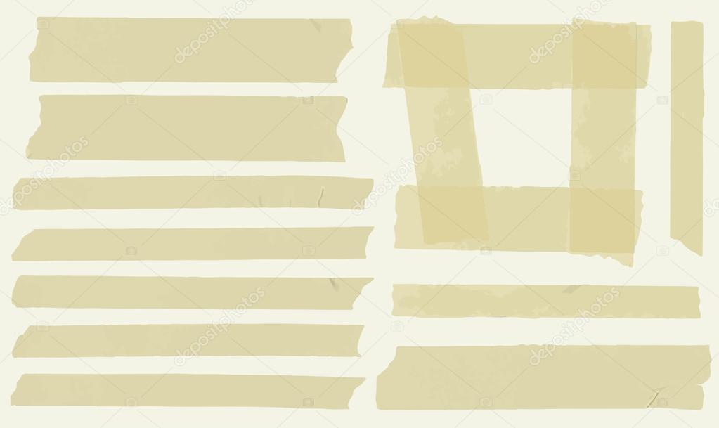 Conjunto de cinta adhesiva de tamaño horizontal y diferentes piezas ...