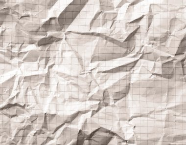 Crumpled gray blank math, grid paper background