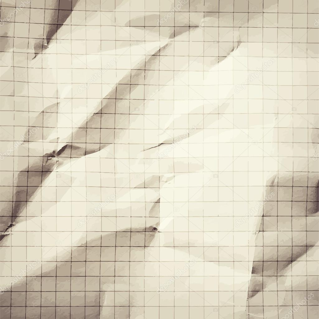 Crumpled gray blank math, grid paper background — Stock Vector ...