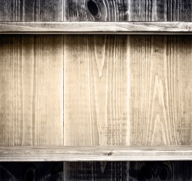 Old grunge wooden planks texture with shelf for books, kitchen utensils and other items. Vector illustration
