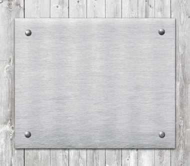 Composition of metal aluminum plaque, name plate on wooden wall planks