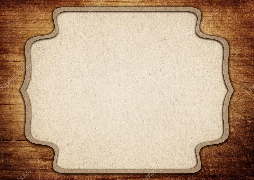 Marco de papel recargado en viejos rayados tabla para cortar — Foto ...