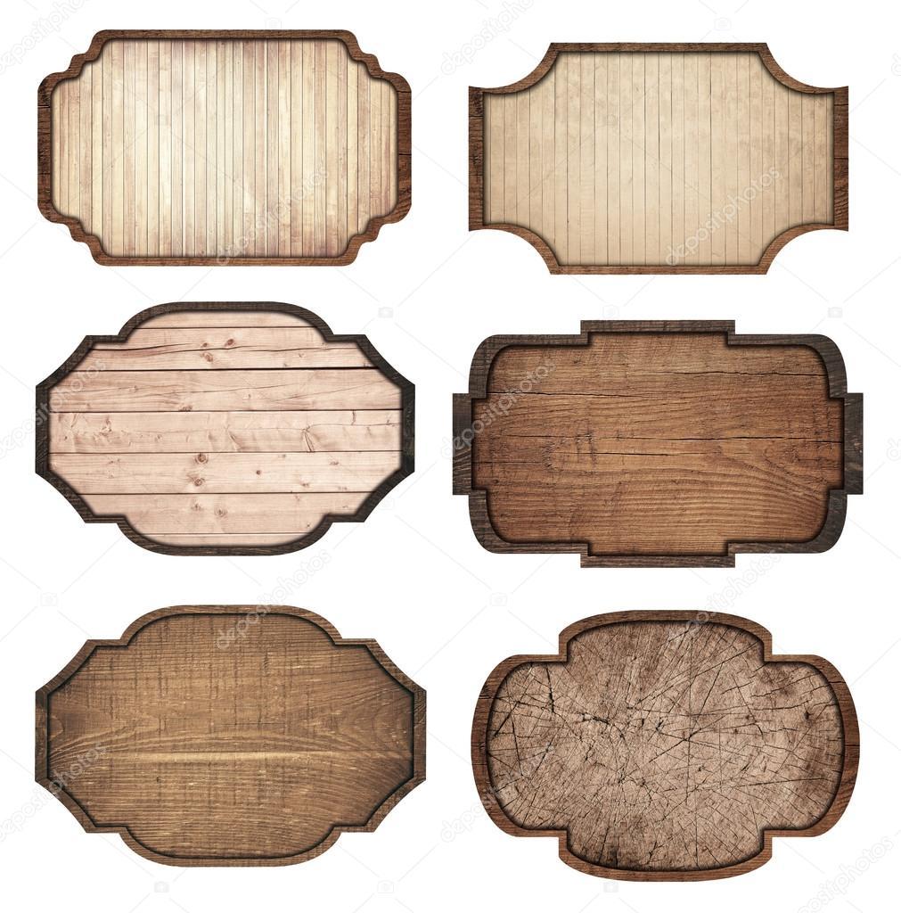 갈색 나무 간판의 설정, 판자 및 어두운 프레임 흰색 배경에 고립 ...