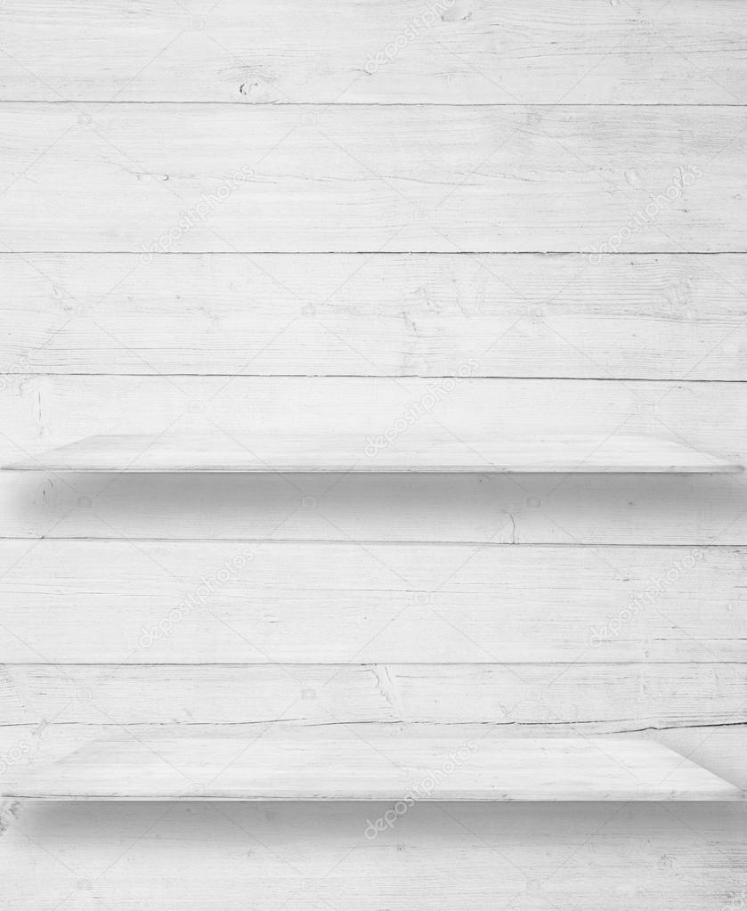 Cool White Wood Wall With Wooden Shelf Table Surface Stock Beutiful Home Inspiration Ommitmahrainfo