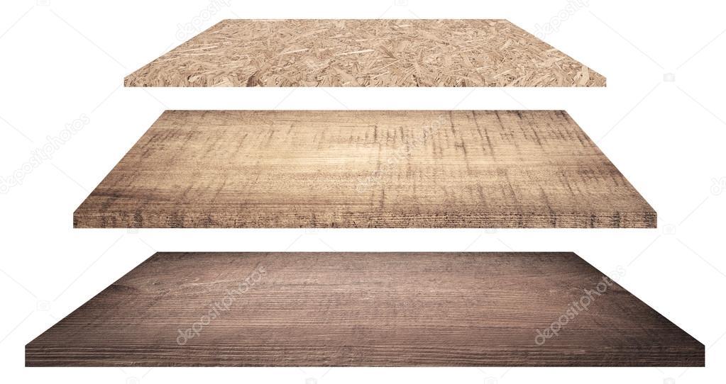 Ripiani In Legno Per Tavoli : Ripiani in legno o su un tavolo isolato su bianco u foto stock