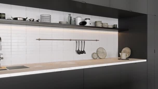 Moderní kuchyně interiér s rostlinami