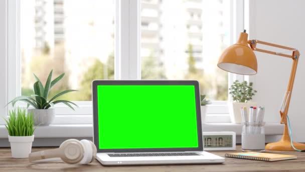 Arbeiten von zu Hause aus. Mockup Blank Screen Laptop Computer.