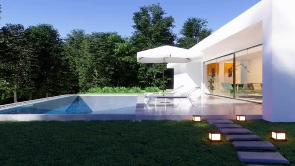 Exterior of Luxus modern ház úszómedencével, fedélzeti székek és fák