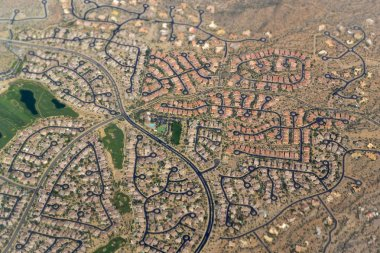 Golf course and residential housing neighborhood aerial