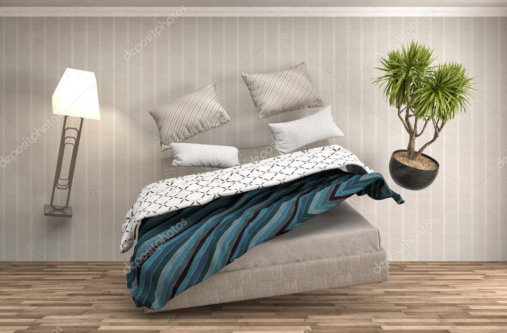 gravedad cero cama flotando en la sala de estar. Ilustración 3D ...